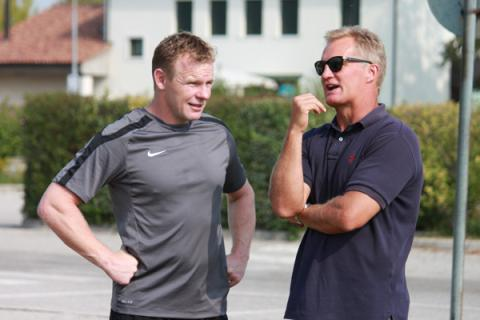 Michael Lynagh con il coach dei Saracens McCall