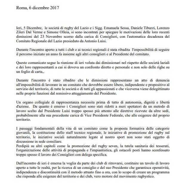 Comunicato FIR Lazio